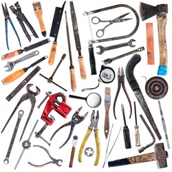 Set of old carpentry and locksmith tools isolated on white background
