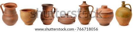 Set of old ceramic kitchen tools - retro equipment of cooking isolated on white background. Panoramic collage. Wide photo . #766718056