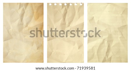 Set of old grunge crumpled paper isolated on white background - stock photo