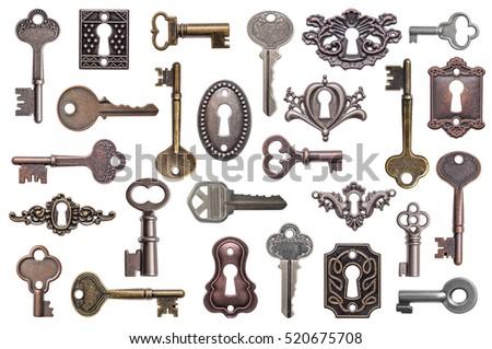 Set of old keys and keyholes isolated on white background Foto stock ©
