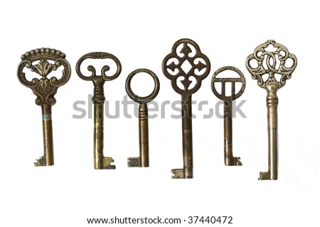 Set of old keys on a white background