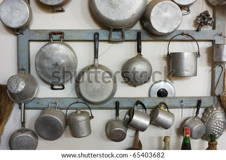 Set Of Old Kitchen Tools - Retro Equipment Of Grandmother Cooking ...