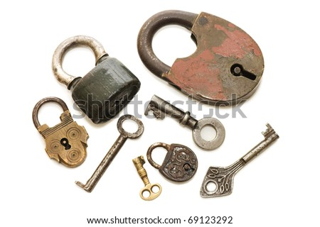 Set of old locks isolated on white background