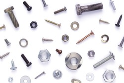 Set of old metal screw, bolt head, nut, washer and nail tool isolated on white background