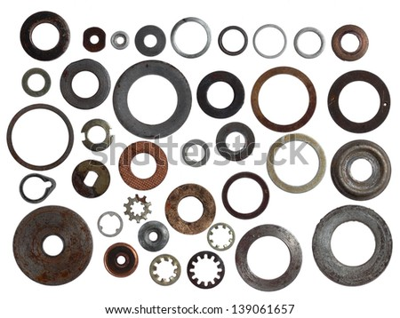 set of old metal washers of the different size and look