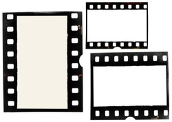 set of old 35mm film strips or frames on white, just blend in your content to make it look retro or vintage