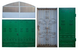 set of old painted metal gates decorated with forging, isolated object on a white background
