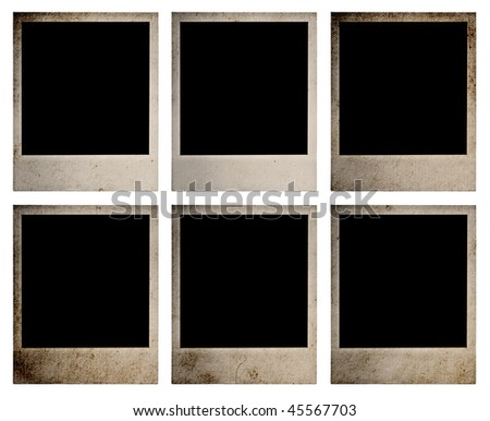 set of old photos, isolated on white background with clipping path - stock photo
