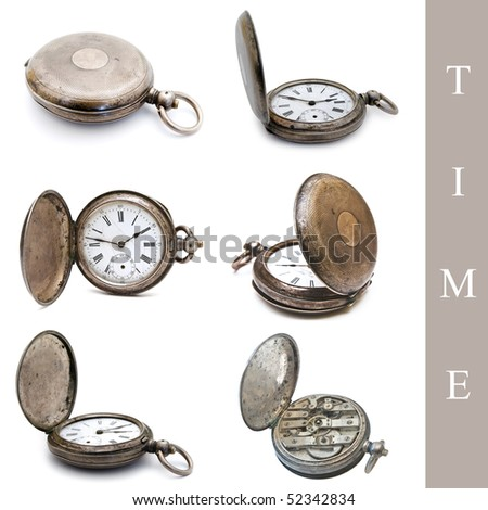 set of old silver pocket watches over the white background