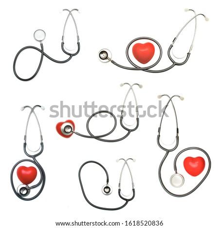 Set of old vintage black stethoscopes isolated on white background. Healthy lifestyle concept.
