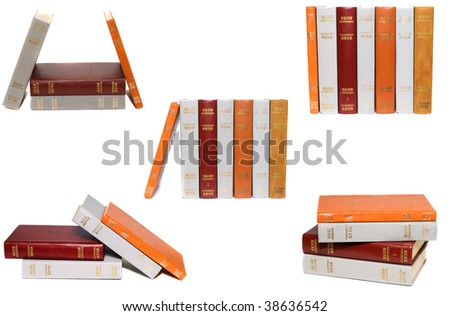 Set of old vintage books isolated on white