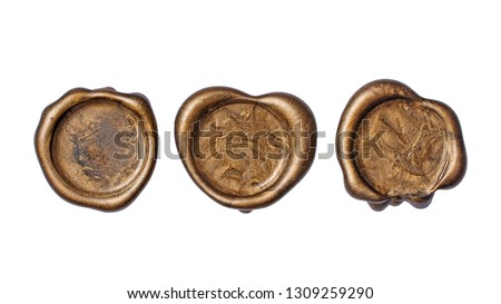 Set of old vintage golden wax seals or stamps for retro mail envelope isolated on white background