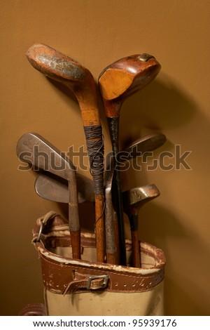 Set of old vintage golf clubs in bag