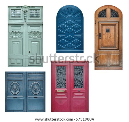 Set of old wooden doors isolated on white