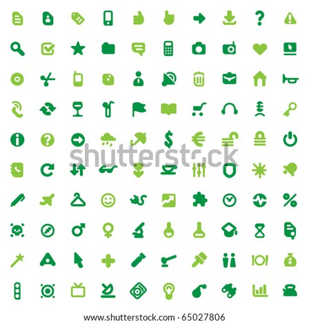 Set of one hundred green icons for website interface, business designs, finance, security and leisure. Raster version. For vector version of this image, see my portfolio.