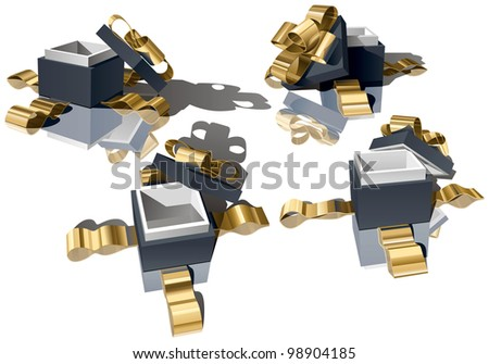 Set of Open Gift Boxes with Golden Bow on White Background. Rasterized Version