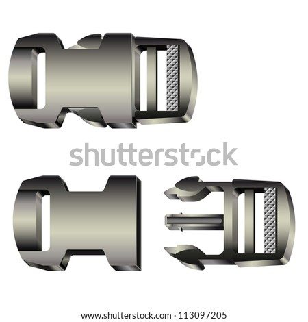Set of opened and closed plastic safety buckles. Raster version of the vector image