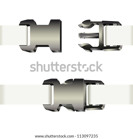 Set of opened and closed plastic safety buckles with white ribbon. Raster version of the vector image