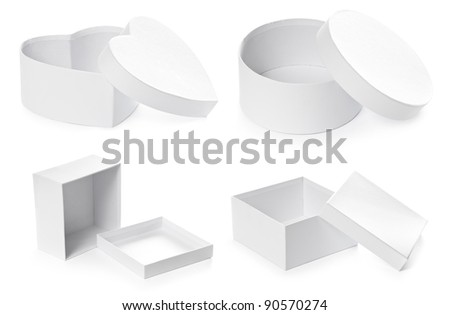 Set of opened pasteboard gift boxes isolated on white background with clipping path. Round, square and heart shape.