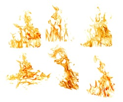 set of orange flames isolated on white background