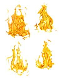 set of orange flames isolated on white background