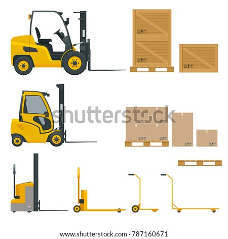 Set of Orange Forklifts in various combinations, storage racks, pallets with goods for infographics. Flat illustration isolated on white background. Storage equipment icon set. Side view.