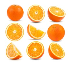 set of orange fruit isolated on white background
