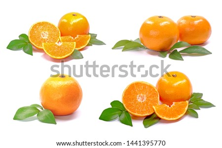 Set of Orange, whole and sliced with fresh green leaves isolated on white background collection. Oranges collection #1441395770