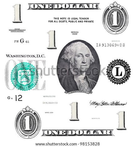 set of original detail 1 $ dollars, with Washington, isolated on white background