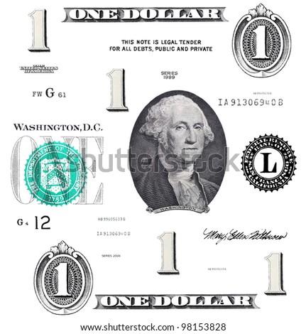 set of original detail 1 $ dollars, with Washington, isolated on white background