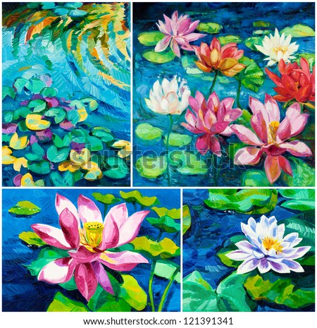 Set of Original oil paintings of beautiful water lily(Nymphaeaceae) on canvas.Modern Impressionism