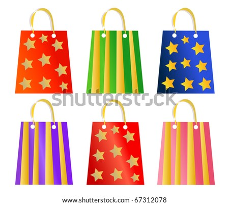 Set of ornamented Christmas present bags