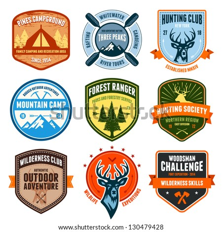 Set of outdoor adventure badges and hunting emblems