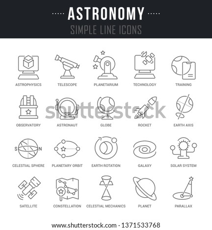 Set of outline signs and symbols of astronomy with names.