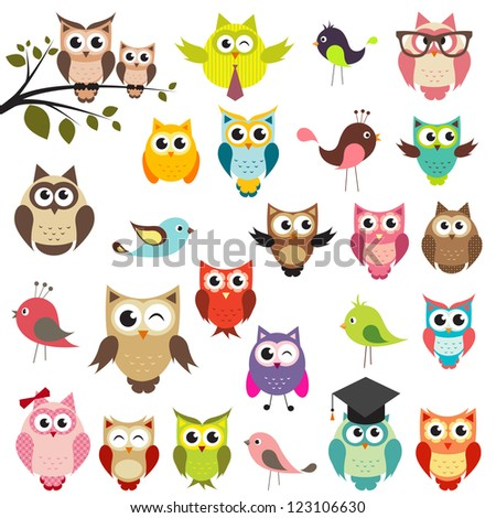 set of owls. Raster version