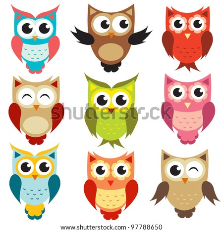 set of owls. Raster version.