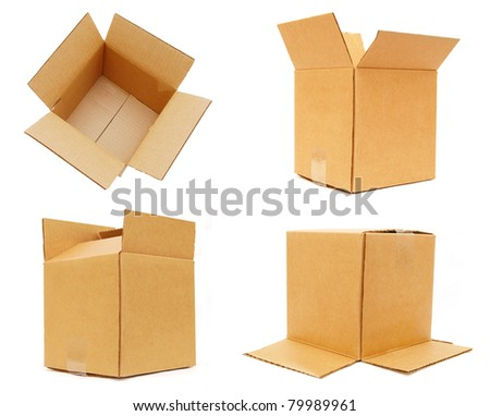 set of packing carton boxes