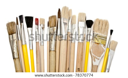 Set of paint brushes on a white background.