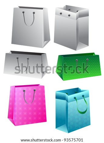 Set of paper bags over white