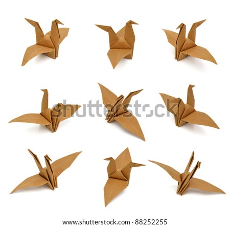 set of paper birds on white background.