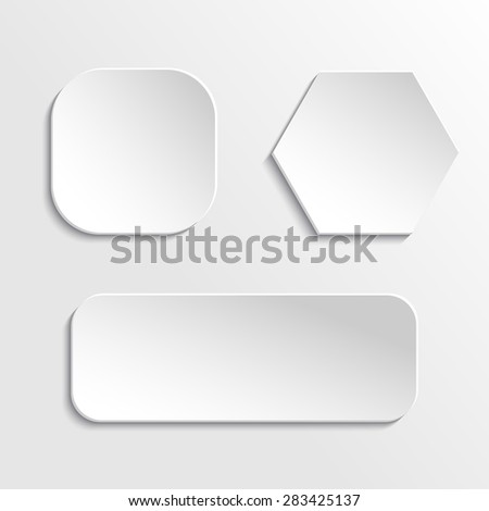 Set of paper buttons, hexagon, square and rectangular, with round corners. #283425137