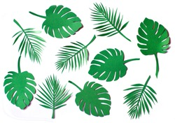 Set of paper cut green jungle leaves on white isolated background.