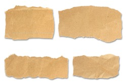 Set of paper different shapes scraps isolated on white background with clipping path.