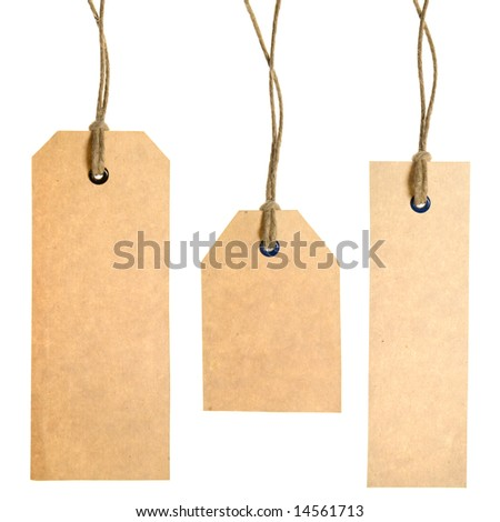Set Of Paper Tags Isolated On White Background. Hand made.