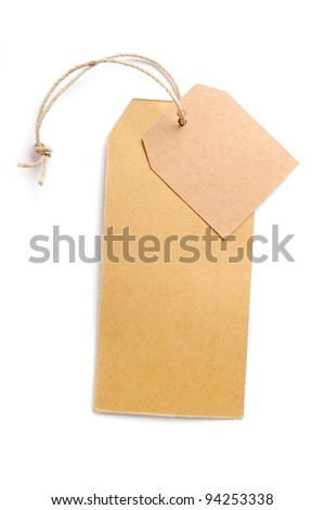 Set of paper tags Isolated on white background. Natural hand made.