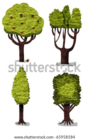 Set of paper trees