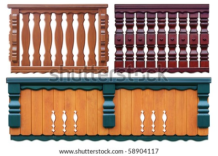 set of parapets in three type of wood