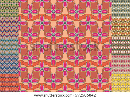Set of pattern for brochure or poster design templates in abstract style. #592506842