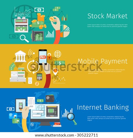 Set of payment concept web banners. Marketing technology, market stock, coin and revenue, bank and earnings, profit and financial