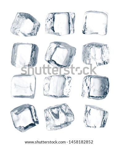Set of peaces of pure blue natural crushed ice. Ice cubes. Clipping path for each cube included.